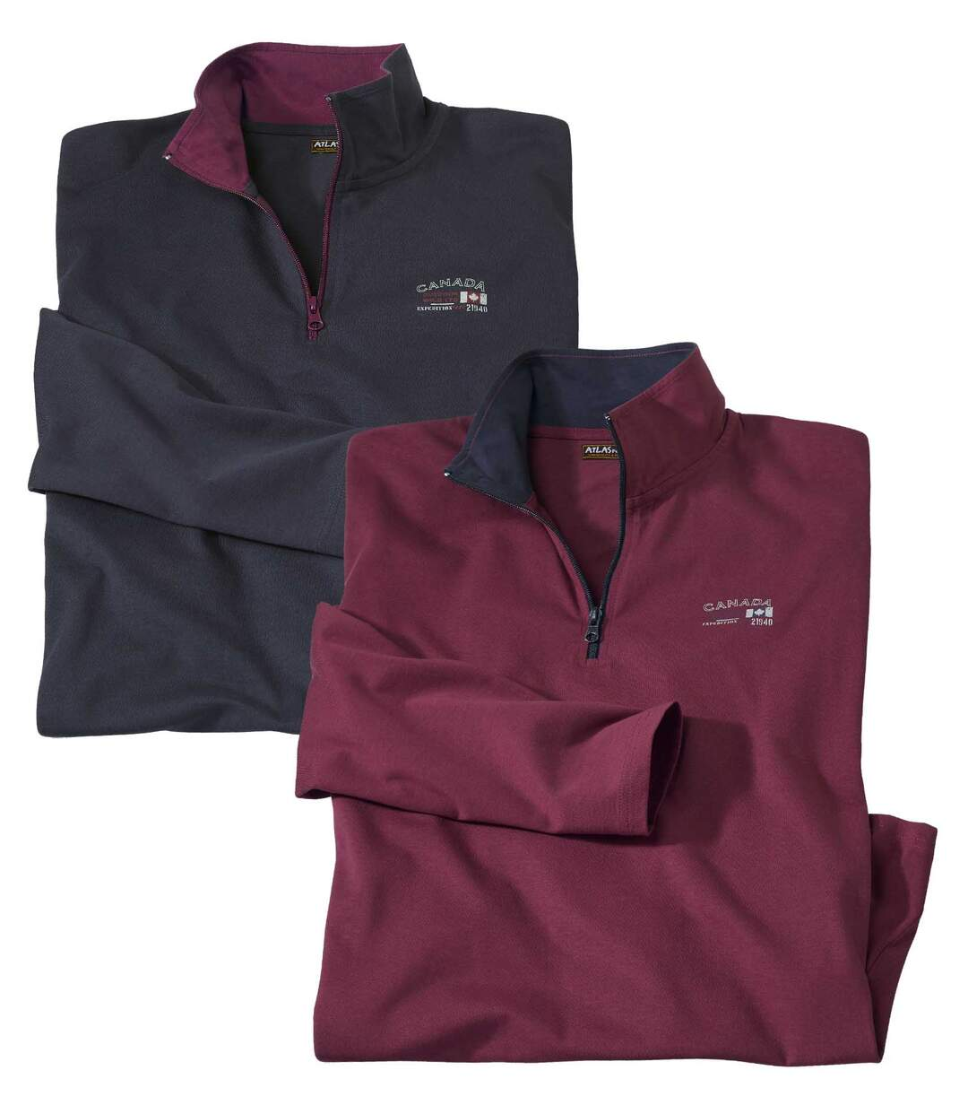 Pack of 2 Men's Zip-Neck Tops - Navy Burgundy