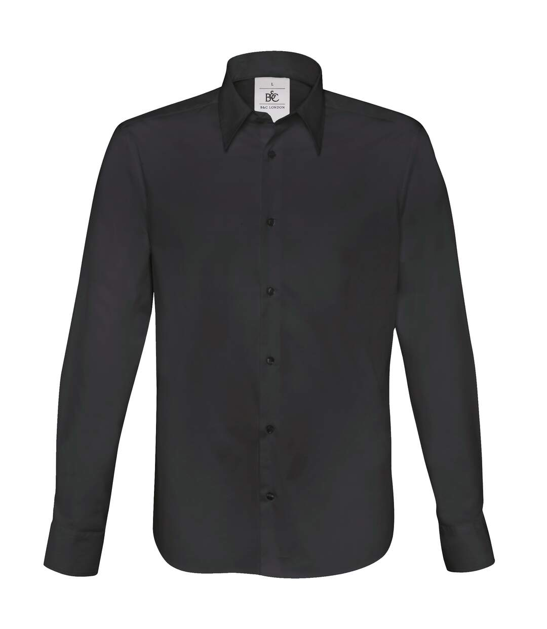 B&C Mens London Long Sleeve Poplin Shirt (Black) - UTRW3040