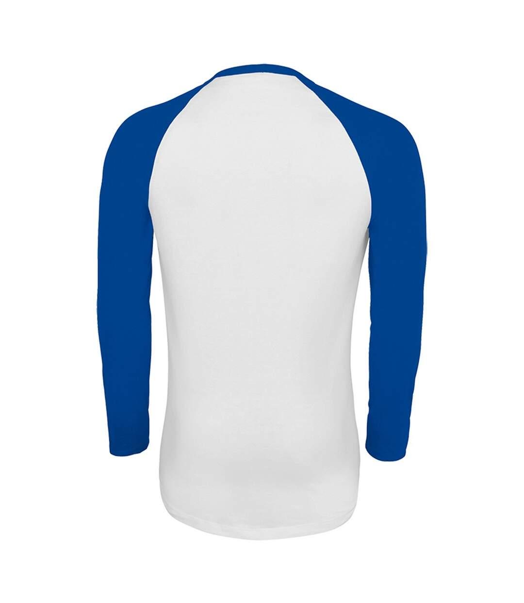 SOLS Mens Funky Contrast Long Sleeve T-Shirt (White/Royal Blue) - UTPC3513