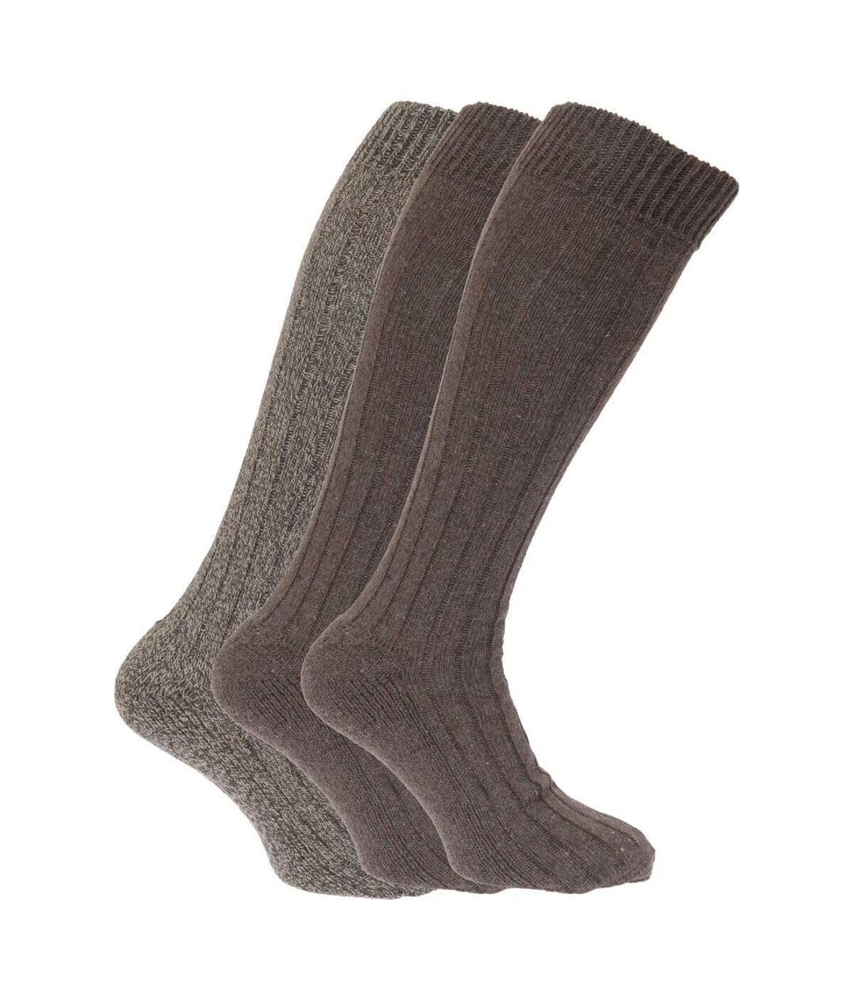 Mens Wool Blend Long Length Socks With Padded Sole (Pack Of 3) (Shades of Brown) - UTMB160