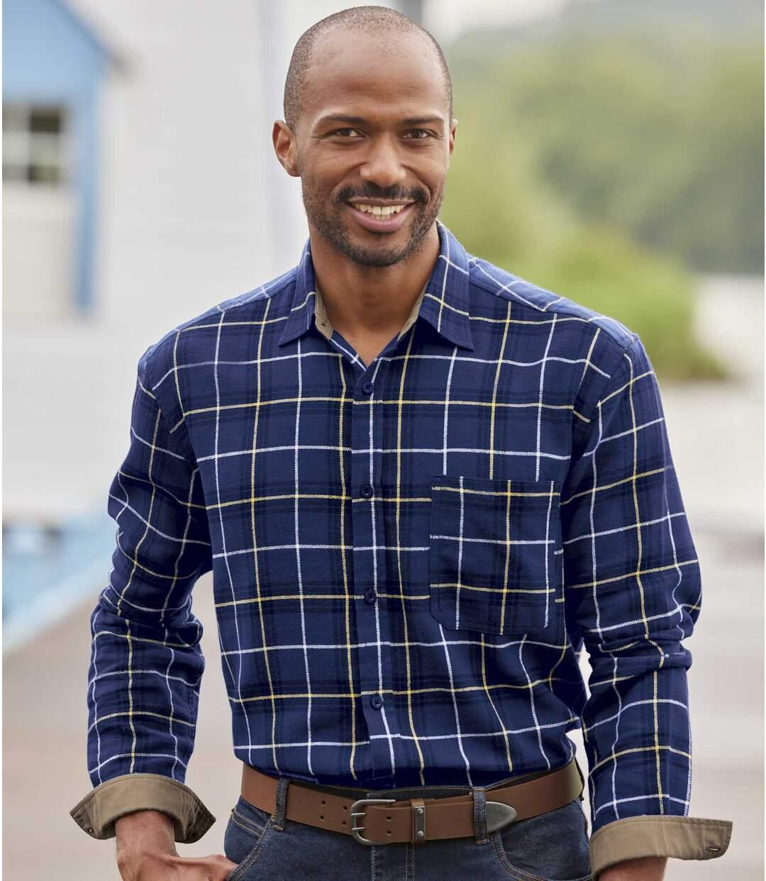 Men's Blue Checked Flannel Shirt Atlas For Men