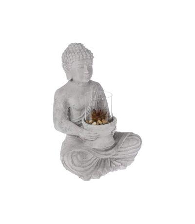 Photophore Bouddha Assis en Ciment 41cm Gris