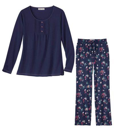 Bavlnené pyžamo skvetinovou potlačou
