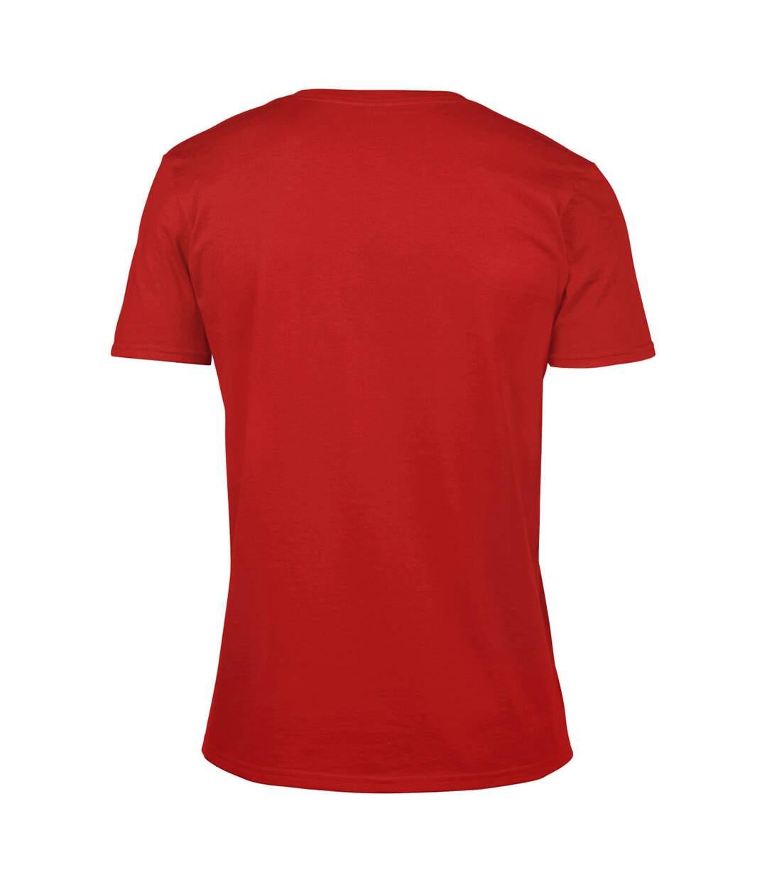 Gildan Mens Soft Style V-Neck Short Sleeve T-Shirt (Red) - UTBC490