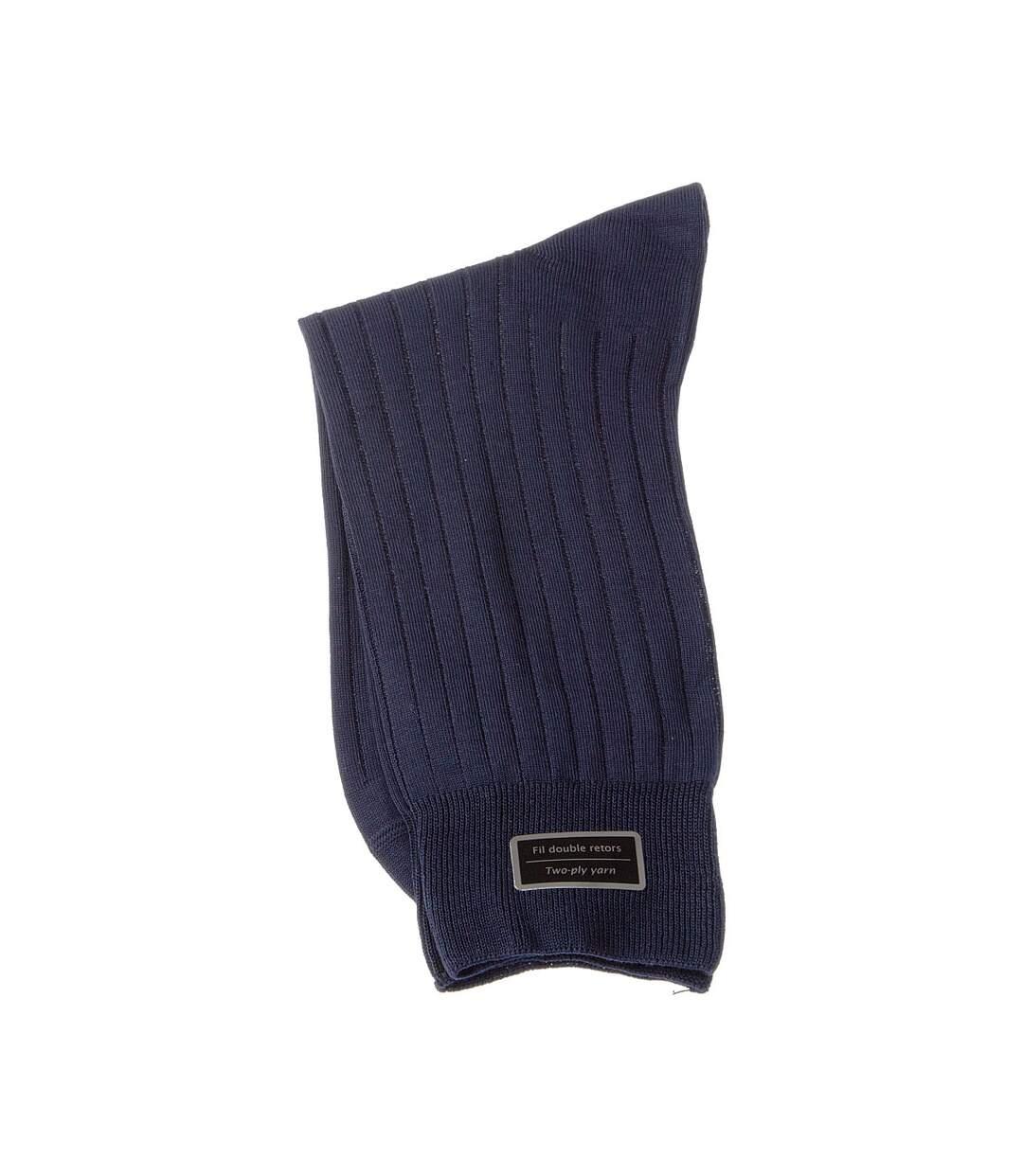 Dégagement Chaussette Mi-Hautes 1 paire Coutures plates Sans bouclette A côtes Fine Fil d\'écosse Bleu marine Excellence dsf.d455nksdKLFHG