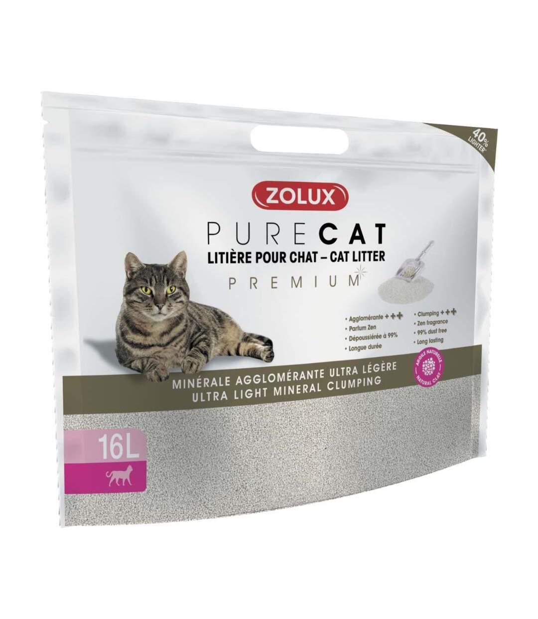 Litière agglomérante premium Pure cat 16L