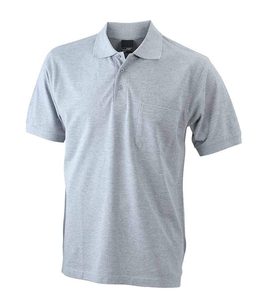 Polo manches courtes poche poitrine HOMME JN922 - gris chiné clair