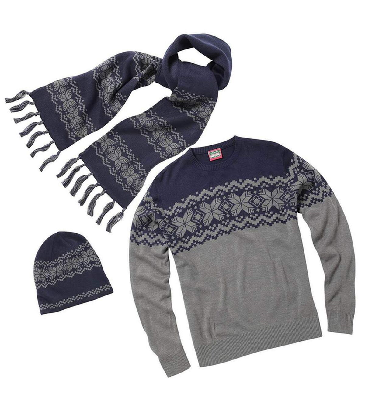 Christmas Shop Mens Traditional Knitted Winter Jumper, Hat & Scarf Set (Grey/Navy) - UTRW5309
