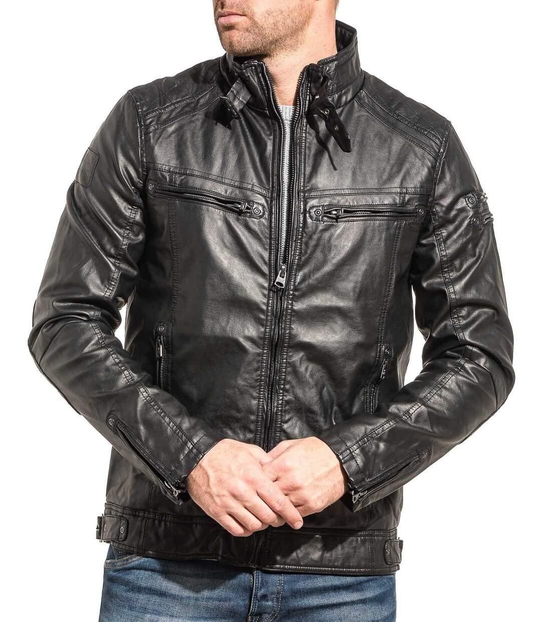 Blouson homme noir effet cuir zippé