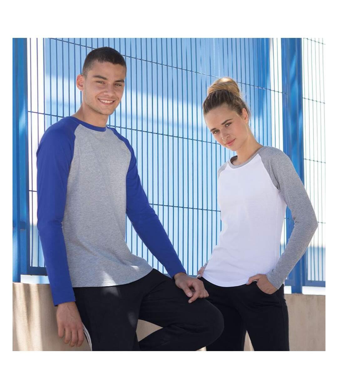 Skinnifit Mens Raglan Long Sleeve Baseball T-Shirt (Heather Grey / Black) - UTRW4742
