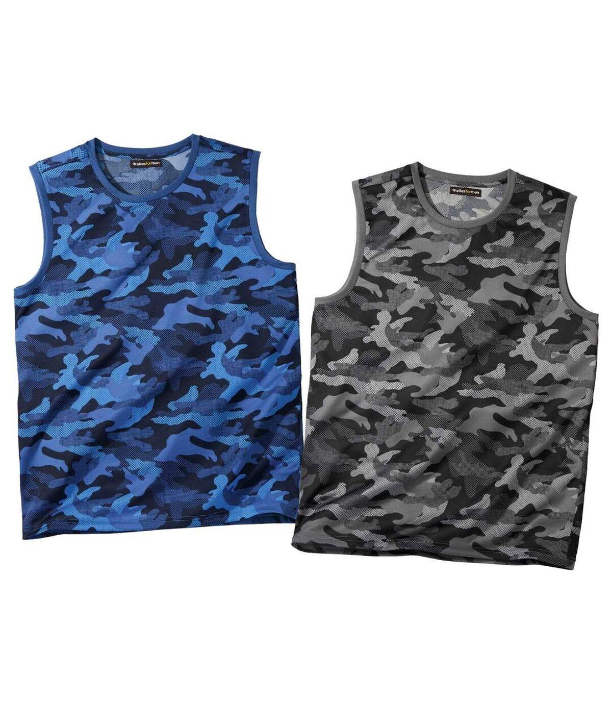 Set van 2 tanktops met camouflage print Atlas For Men