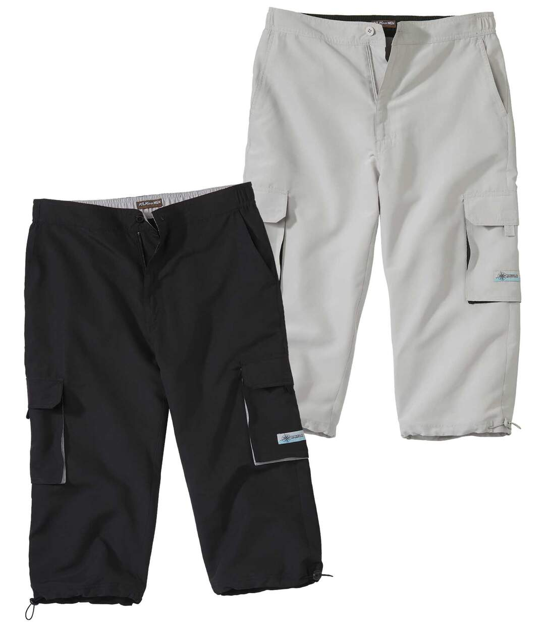 Pack of 2 Men's Cropped Cargo Trousers - Black Grey