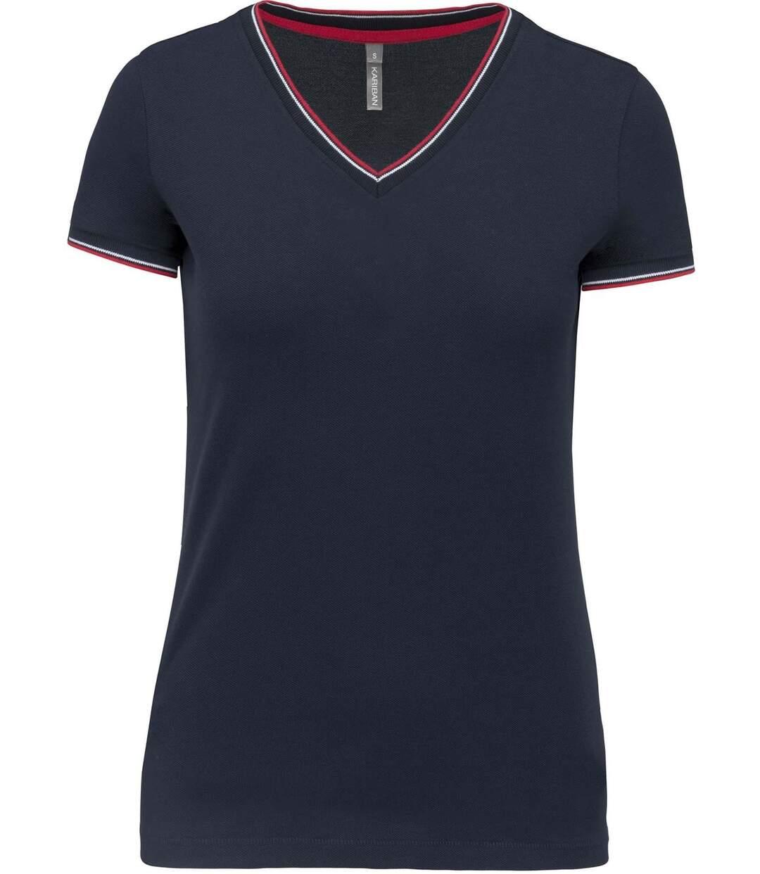 Dégagement T-shirt manches courtes coton piqué col V K394 bleu marine red femme dsf.d455nksdKLFHG