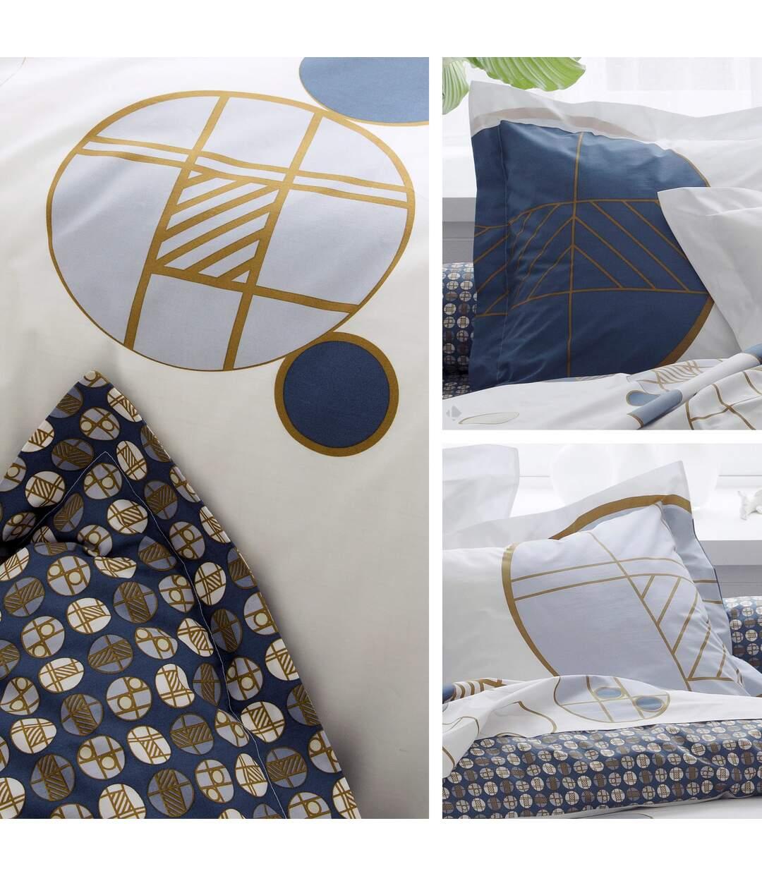 Parure de lit 240x220 cm Percale 100% coton ROMEO bleu Baltique 3 pièces