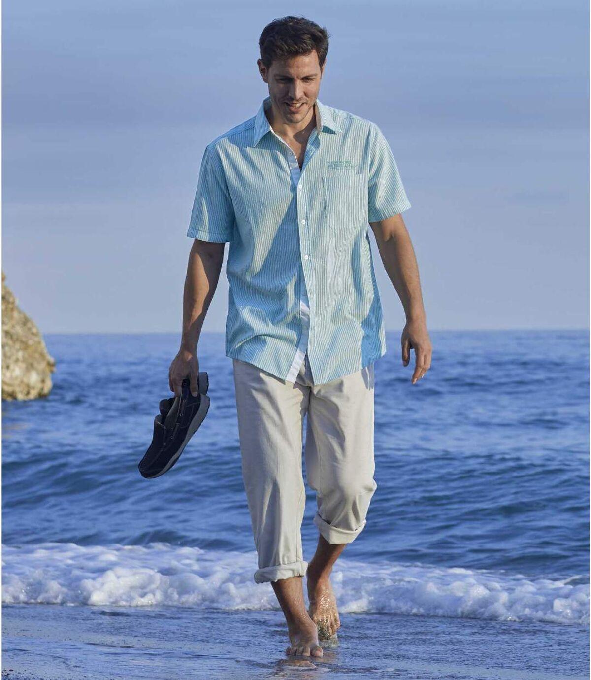 Men's Ocean Blue Striped Shirt Atlas For Men