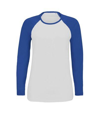 SOLS Womens/Ladies Milky Contrast Long Sleeve T-Shirt (White/Royal Blue) - UTPC3514