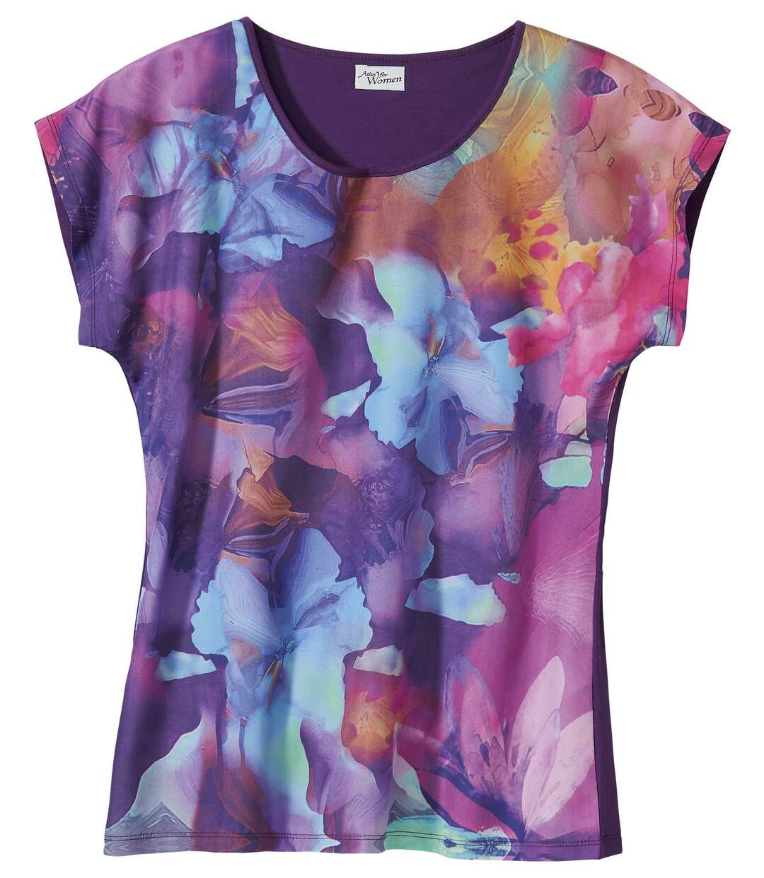 Women's Purple Dual Material Floral T-Shirt