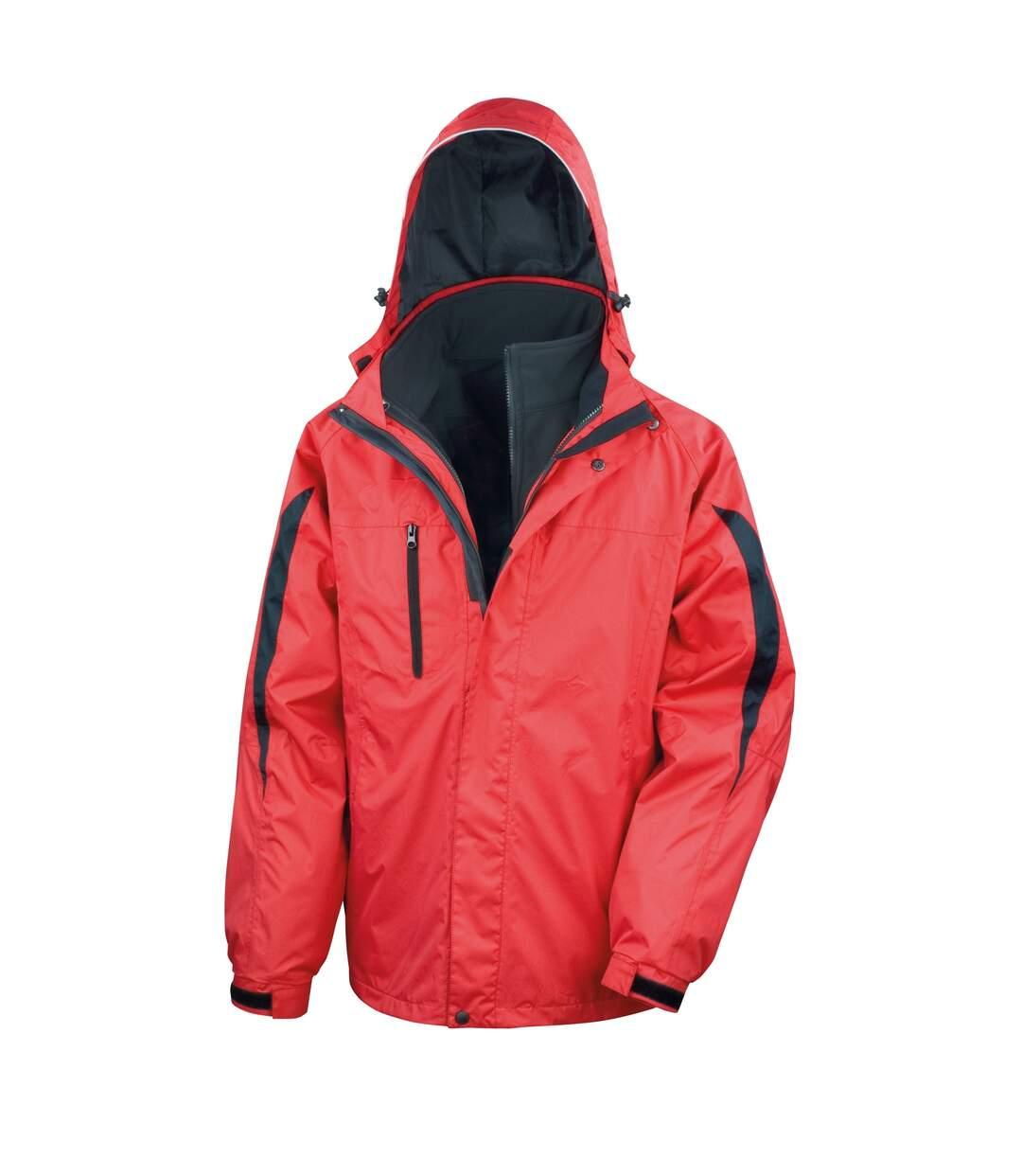 Result Mens 3 In 1 Softshell Waterproof Journey Jacket With Hood (Red / Black) - UTRW3694