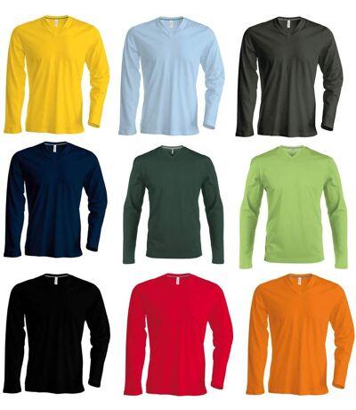 Lot 9 T-shirt manches longues col V - multicolore - homme
