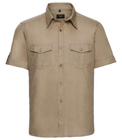 Chemise manches courtes retroussables - R-919M-0 - beige khaki - homme