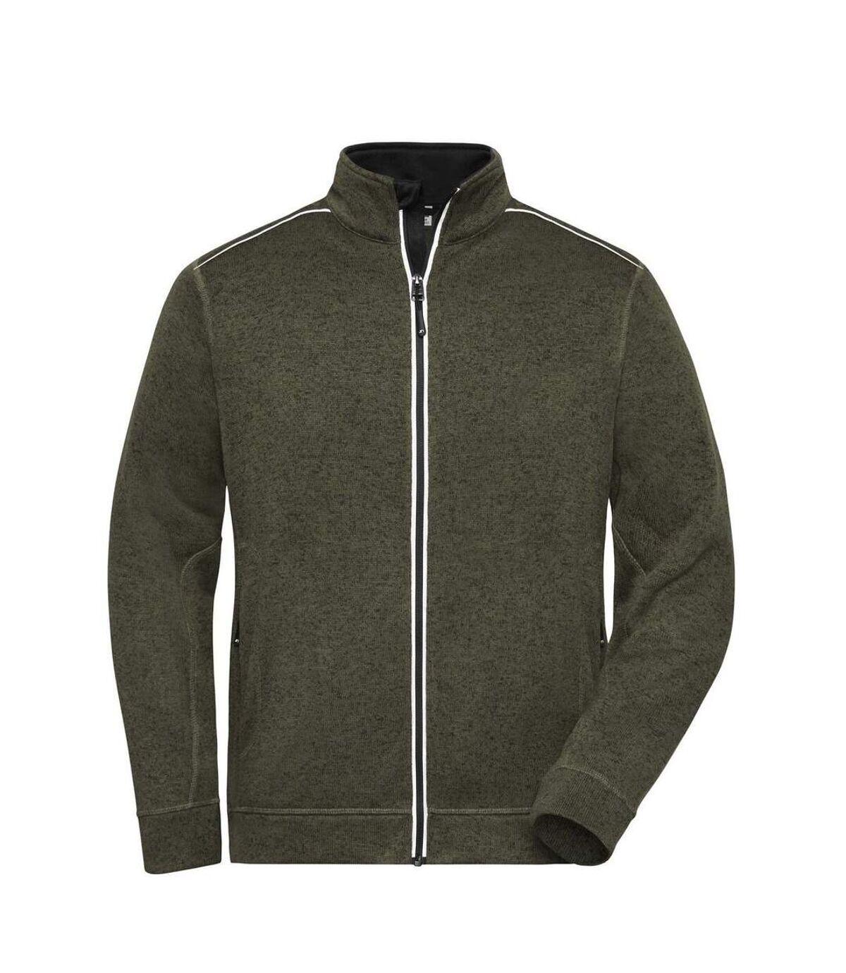 Veste zippée polaire workwear - homme - JN898 - vert olive