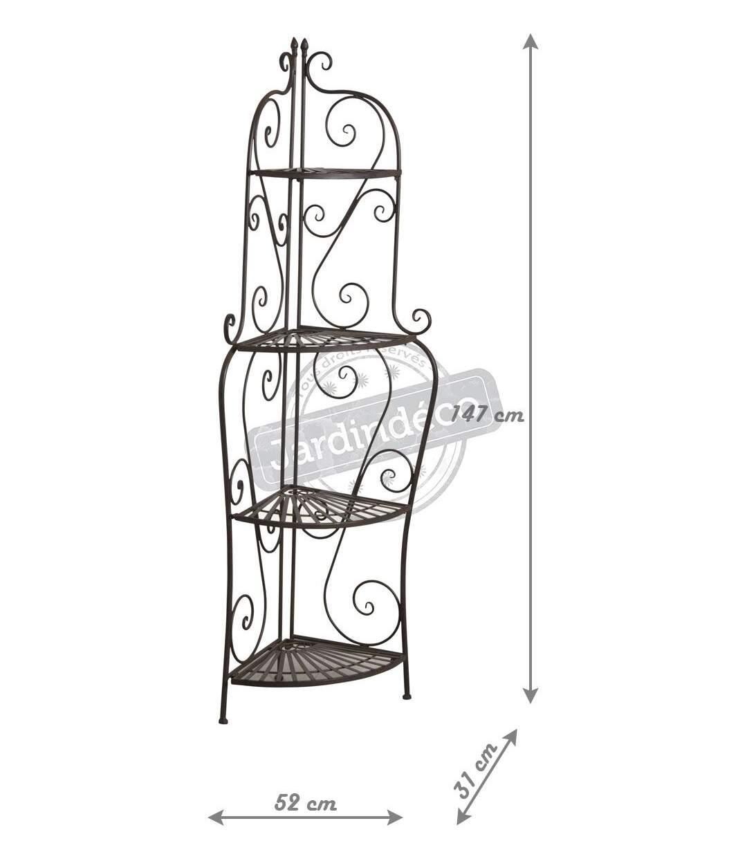 Etagère d'angle pliante en métal vieilli 4 niveaux