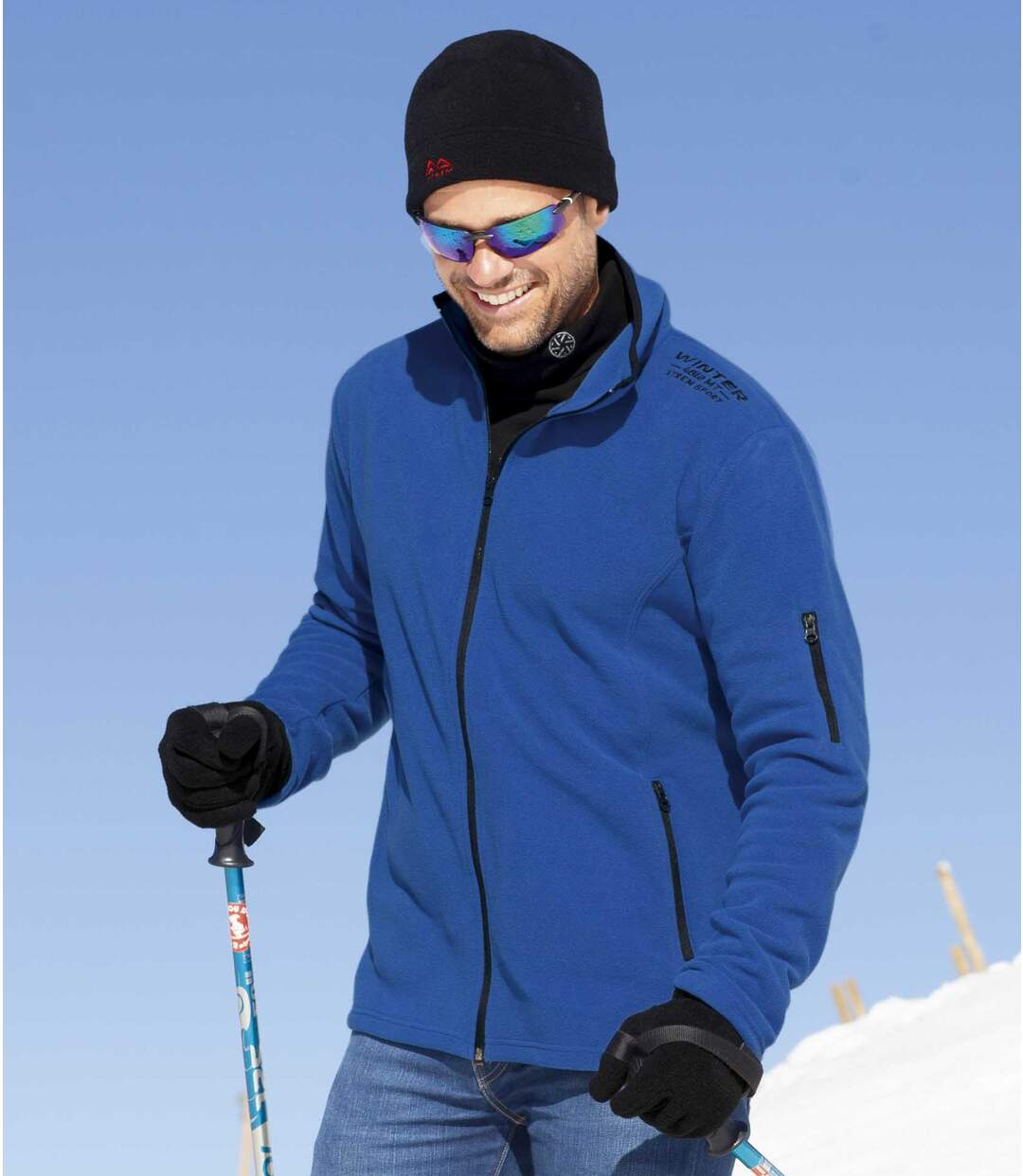 Pack of 2 Men's Outdoor  Microfleece Jackets - Blue and Black