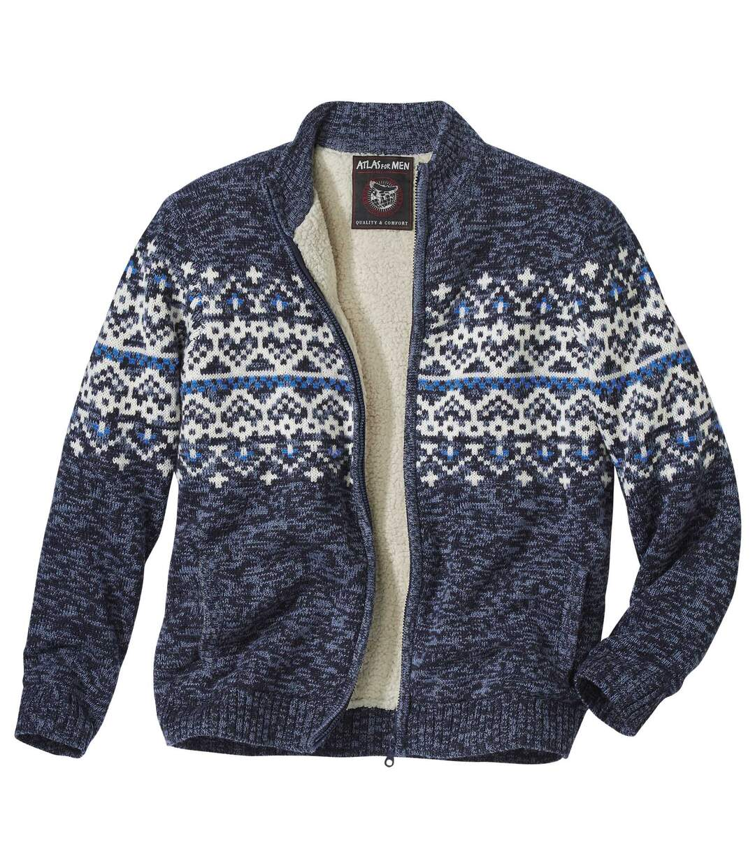 Men's Blue Full Zip Knitted Jacket with Sherpa Lining