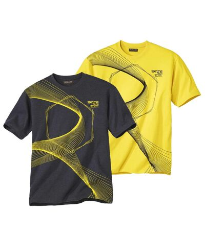 Pack of 2 Men's Sporty T-Shirts - Yellow Gray