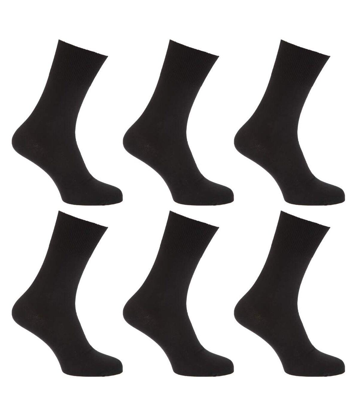 Mens Stay Up Non Elastic Diabetic Socks (Pack Of 6) (Black) - UTMB250