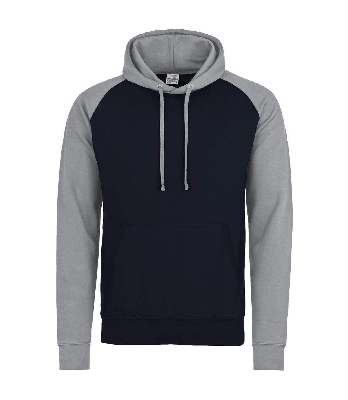 Awdis Just Hoods Adults Unisex Two Tone Hooded Baseball Sweatshirt/Hoodie (Oxford Navy/Heather Grey) - UTRW3928