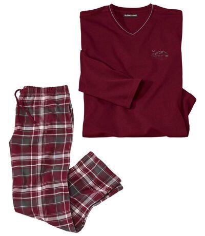 Men's Burgundy Tartan-Style Pyjama Set