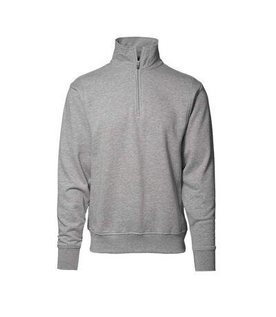 ID Mens High Collar Regular Fitting Half Zip Sweatshirt (Grey melange) - UTID341