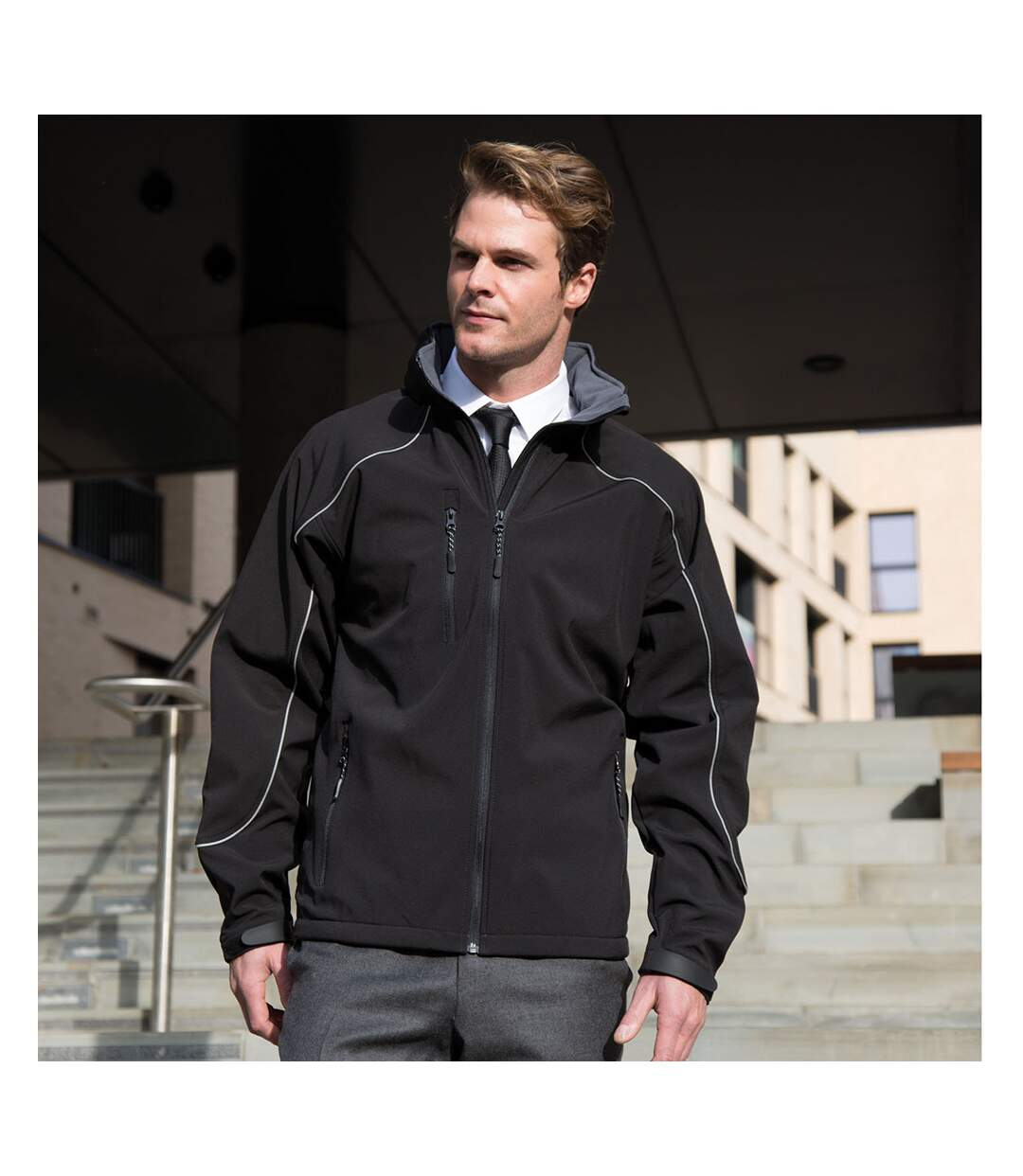 Result Mens Ice Fell Hooded Softshell Breathable Waterproof Jacket (345 GSM) (Black) - UTBC855