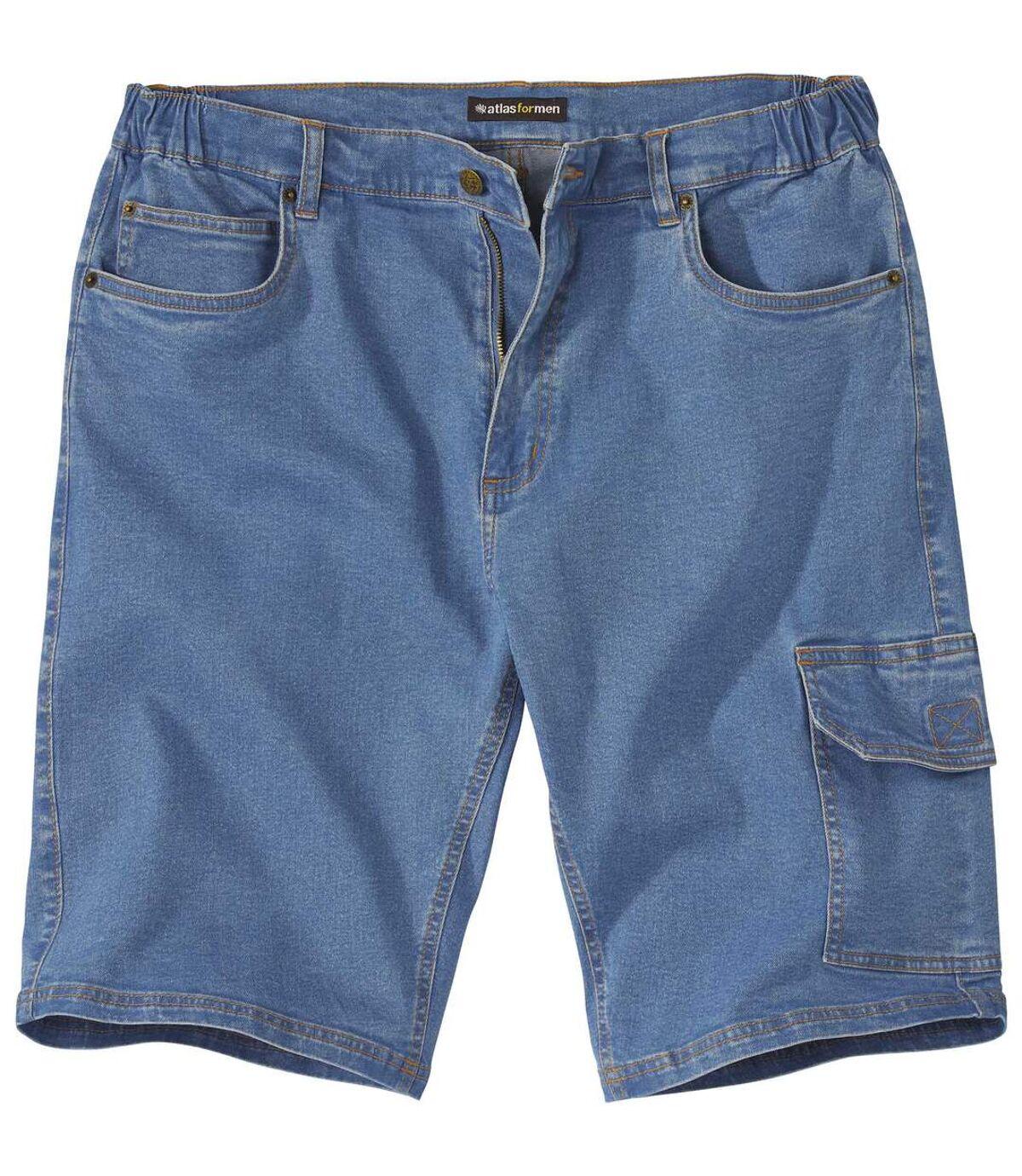 Wygodne jeansowe bermudy-bojówki ze stretchem Atlas For Men
