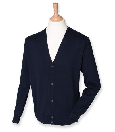Gilet boutonné cardigan - HOMME - H722 - bleu marine