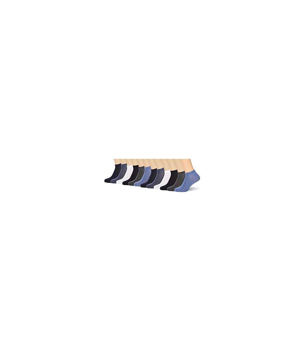 FM London Men's Bamboo Trainer Ankle Socks - Dark Assorted (Pack of 12)