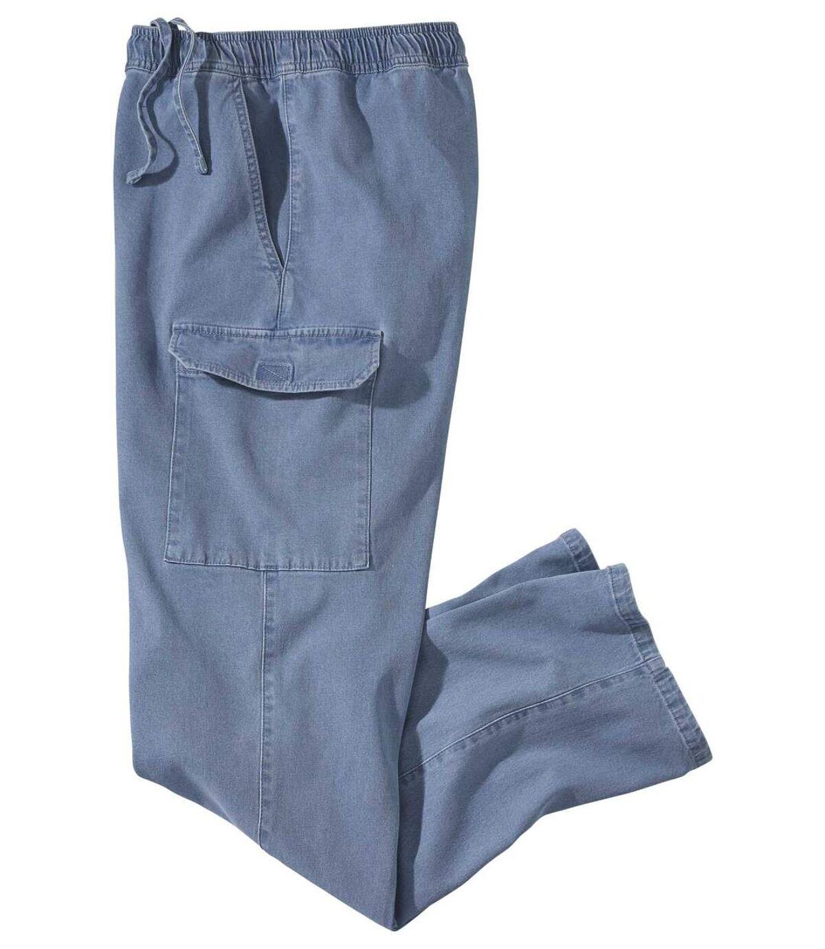 Men's Casual Denim Cargo Trousers ' Light Blue Atlas For Men