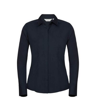 Russell Collection Ladies/Womens Long Sleeve Poly-Cotton Easy Care Fitted Poplin Shirt (French Navy) - UTBC1017