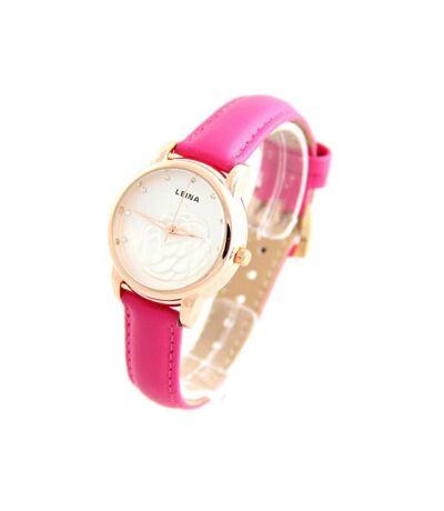 Montre Femme LEINA bracelet Cuir Rose