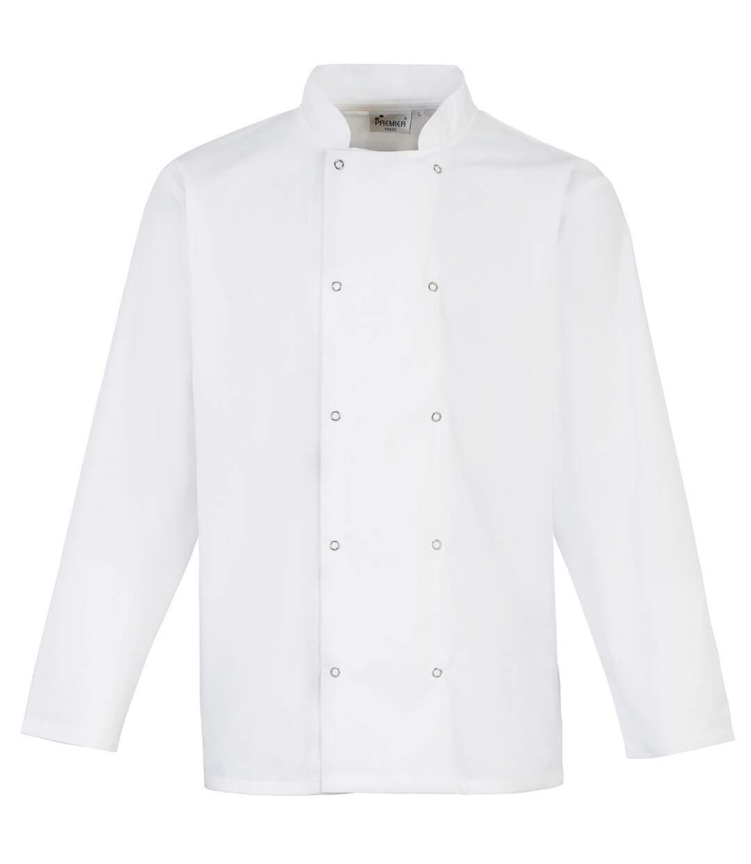 Premier Studded Front Long Sleeve Chefs Jacket / Chefswear (Pack of 2) (White) - UTRW6820