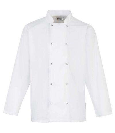 Premier Studded Front Long Sleeve Chefs Jacket / Chefswear (White) - UTRW4403