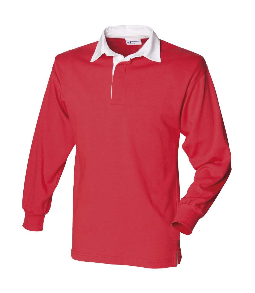 Front Row - Polo De Rugby À Manches Longues 100% Coton - Homme (Rouge/Blanc) - UTRW478