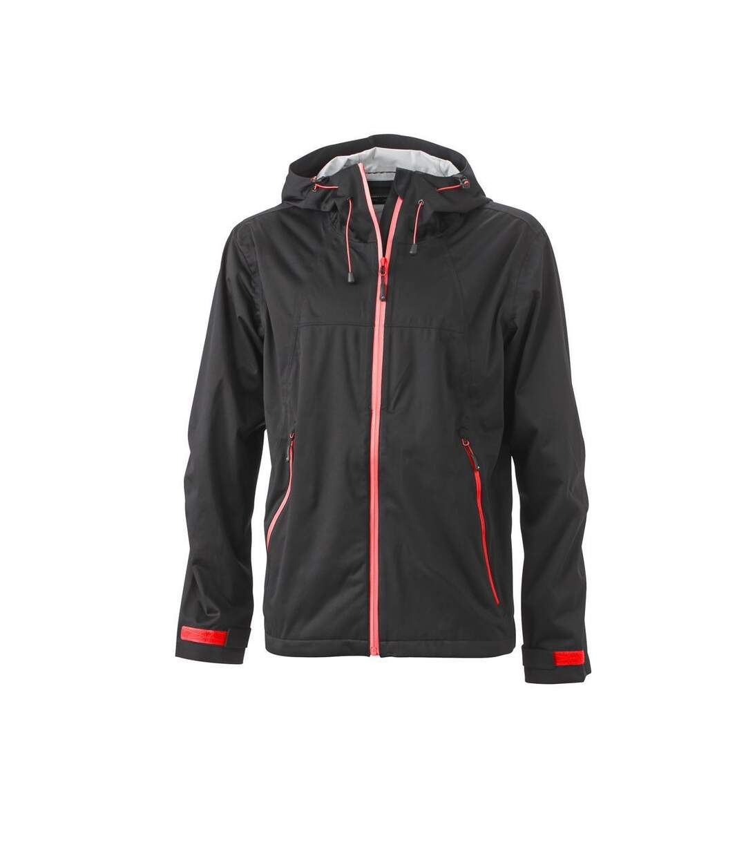 Veste softshell à capuche - homme JN1098 noir rouge - coupe-vent imperméable