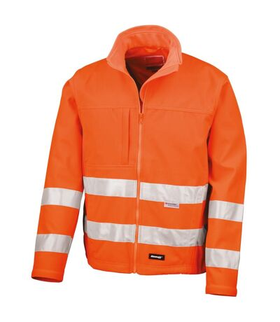 Result Core Mens High-Visibility Winter Blouson Softshell Jacket (Water Resistant & Windproof) (Pack of 2) (Fluorescent Orange) - UTRW6876