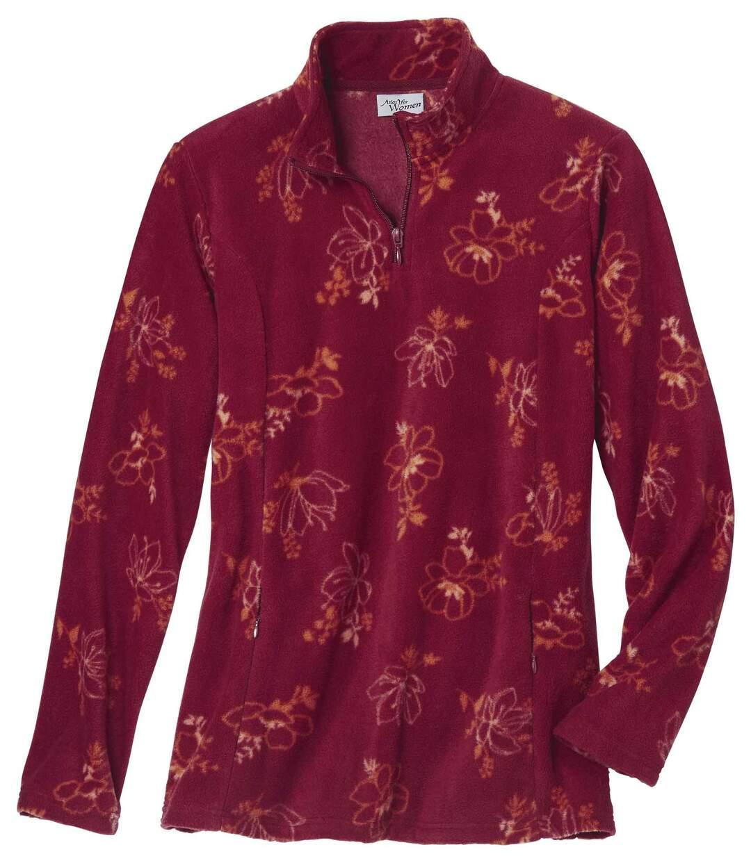 Microfleece-Pullover mit Blumendekor