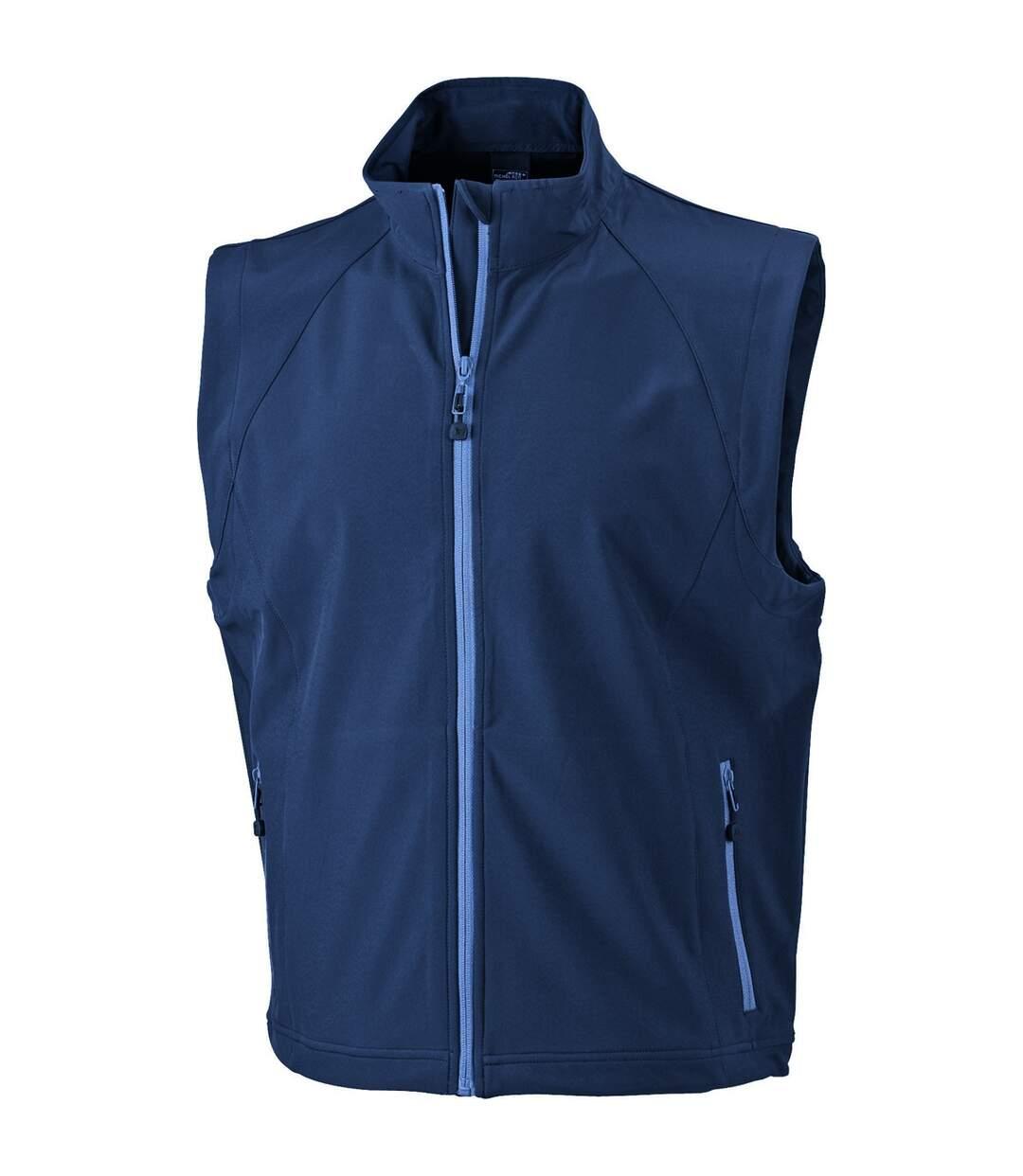 Gilet sans manches softshell coupe-vent imperméable - JN1022 - bleu marine - homme