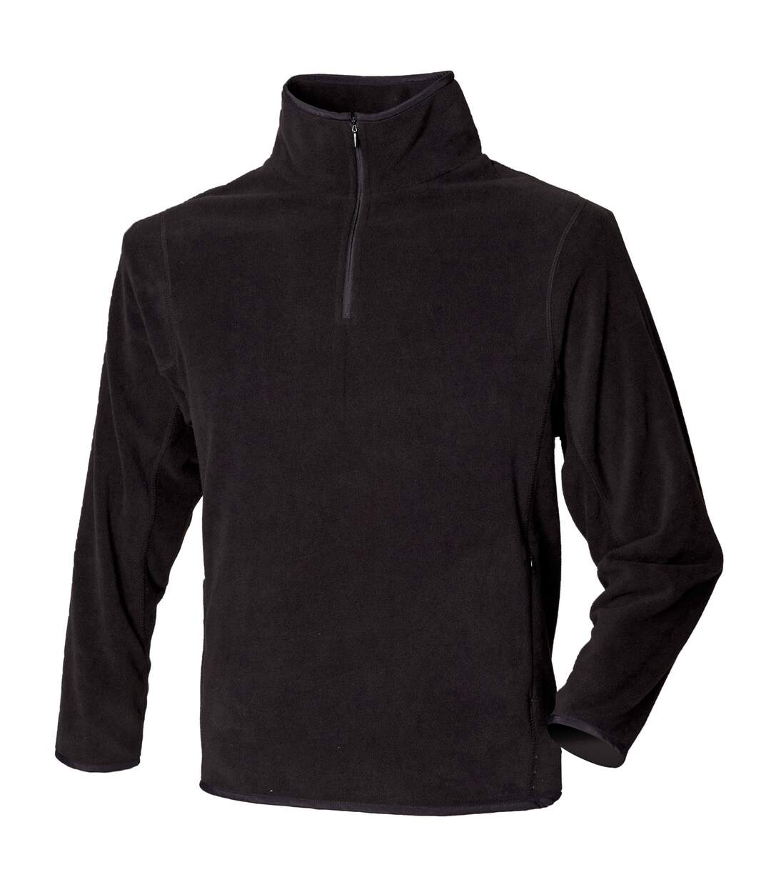 Henbury Mens 1/4 Zip Lightweight Inner Fleece Top (Black) - UTRW680