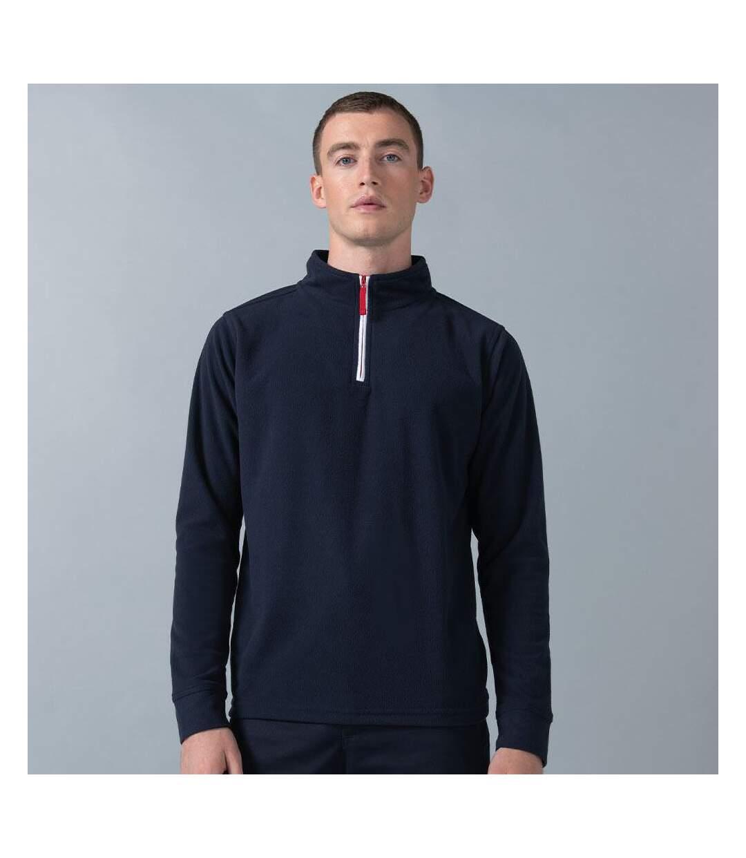Finden & Hales Mens 1/4 Zip Long Sleeve Piped Fleece Top (Navy/White) - UTRW439