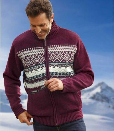 Pletený svetr sžakárovým vzorem zateplený fleecem